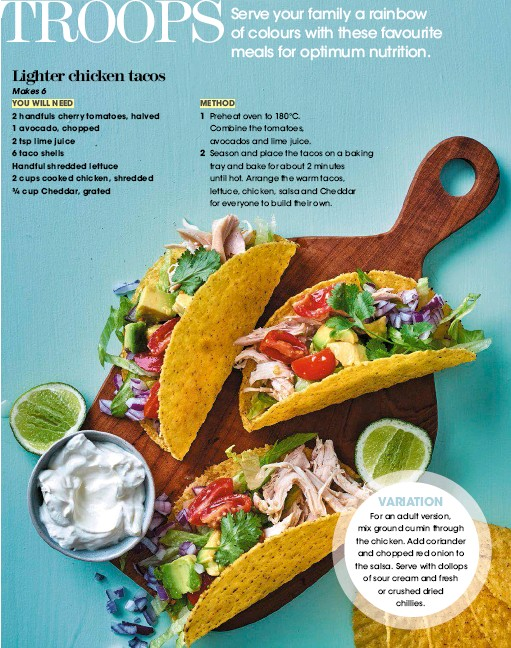 Season And Place The Tacos On A Baking Tray Bake For About 2 Minutes Until Hot Arrange Warm Lettuce Chicken Salsa Cheddar Everyone