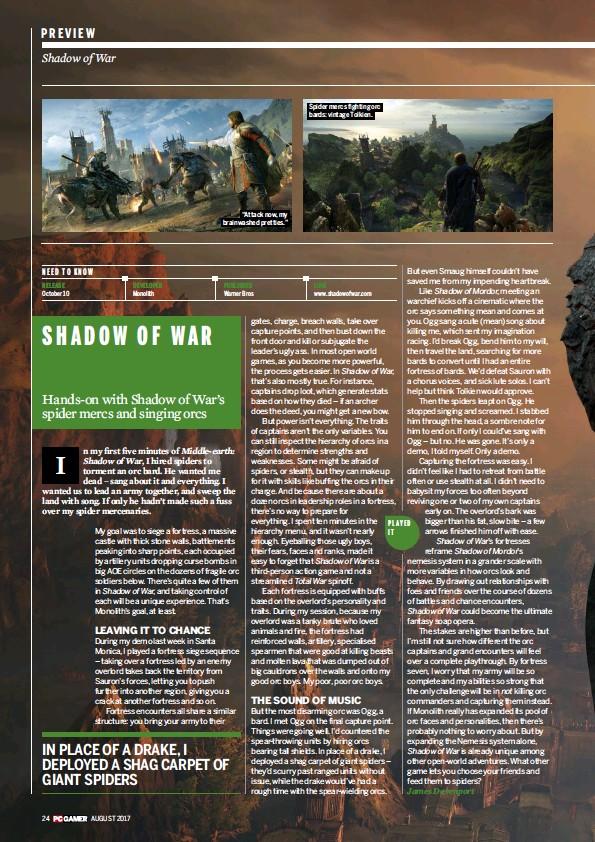 PressReader - PC GAMER (UK): 2017-06-29 - Middle-earth: Shadow of War
