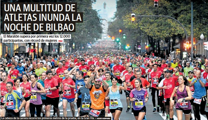 UNA MULTITUD DE ATLETAS INUNDA LA NOCHE DE BILBAO